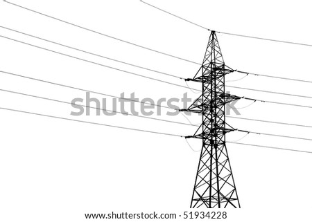 high voltage line on white background - stock photo