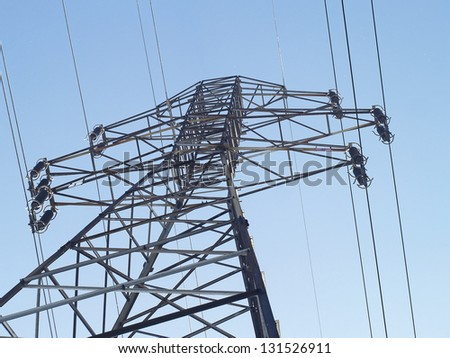 High-voltage lines - stock photo