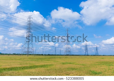 High voltage lines and power pylons in a yellow rice field agricultural landscape on a sunny day with the blue sky. beautiful view high voltage tower pole with rice field.