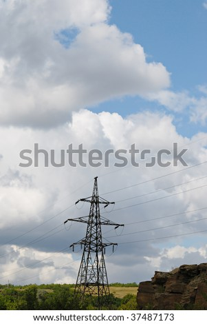 high-voltage lines. electricity wires. Sky