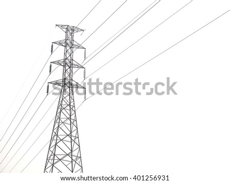 High voltage pole isolated on white background - stock photo