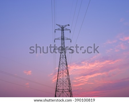 high voltage pole on sunset with beautiful colorful sky