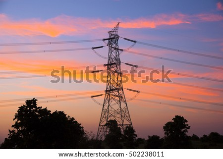 High voltage post.High-voltage tower sky background  at sunset