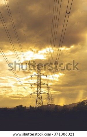 High voltage post. High-voltage tower sky background - Vibrant color effect