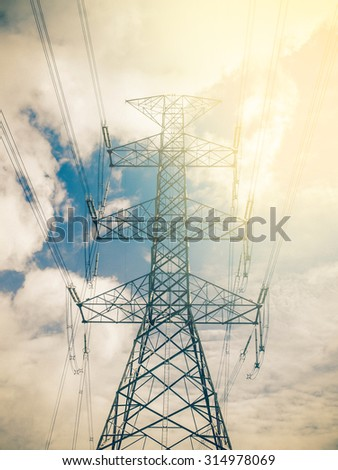 high voltage post.High-voltage tower sunset. Instagram effect (vintage) - stock photo