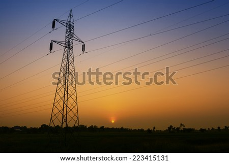 High voltage post or High voltage tower at twilight time