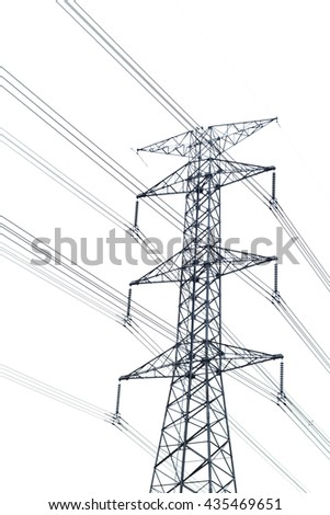 High voltage post or High-voltage tower isolated on white background. High voltage post isolated.Power energy and electricity infrastructure concept. - stock photo