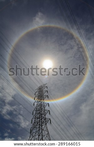 High voltage post or High voltage tower with the sun hath acid.