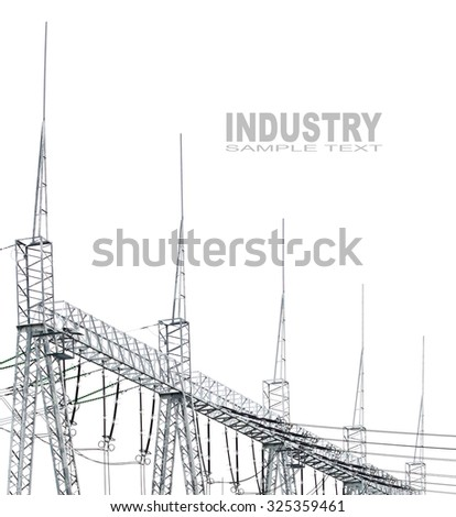 High voltage posts or High voltage towers on white background with space for your text.  - stock photo