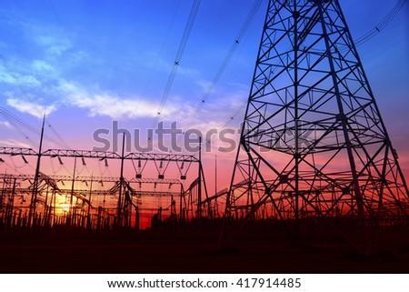 High voltage power grid - stock photo