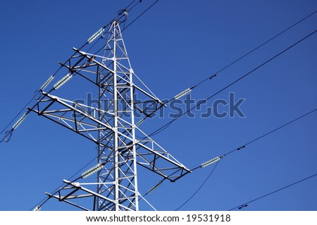 high voltage power line - stock photo