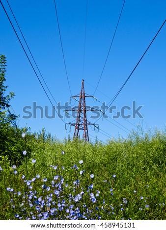 High voltage power line - stock photo