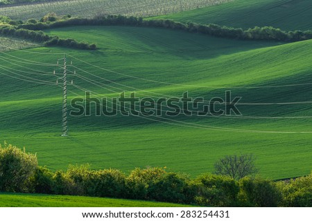 High-voltage power line on background of green field of wheat - stock photo