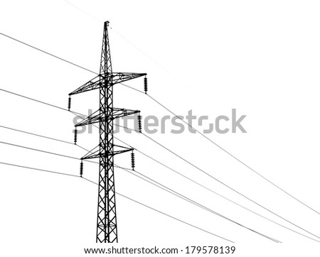 High voltage power lines and metal pylon isolated on white - stock photo