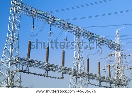 high voltage power lines closeup
