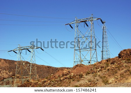 High-Voltage Power Lines from Hoover Dam for transmission of electricity on the border of Arizona and Nevada