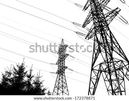 High voltage power lines, silhouettes on white background - stock photo