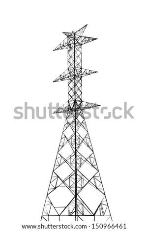 High voltage power pole 230 kv on white background - stock photo