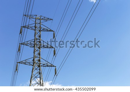 High voltage power pole with space on clear blue sky