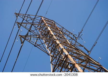 high voltage power tower with blue sky