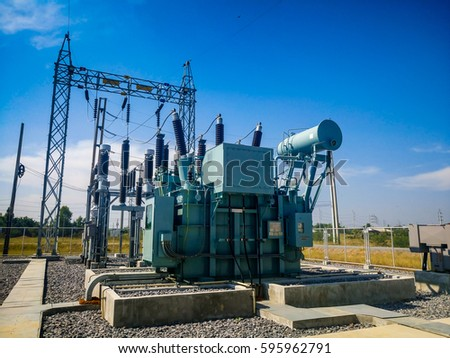High voltage power transformer substation in Solar power station