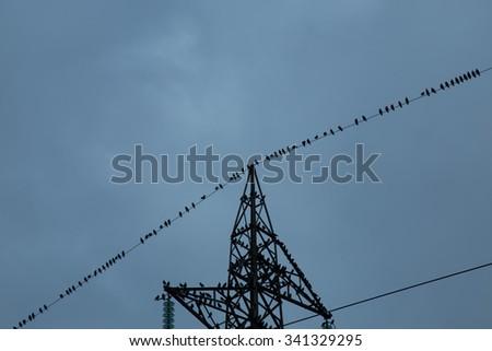 High voltage pylon - stock photo