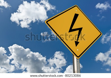 High voltage road sign - stock photo