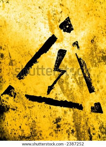 high voltage sign, grunge background - stock photo