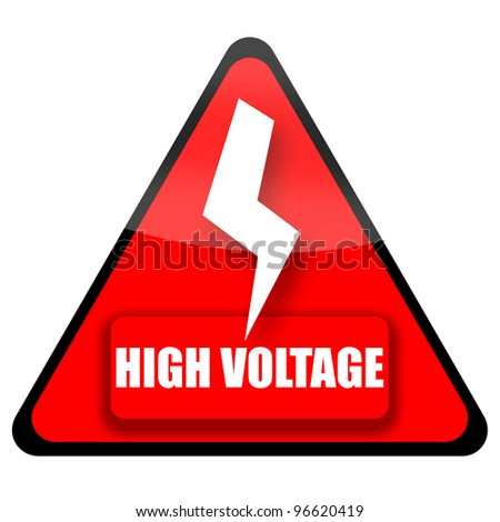 High Voltage Sign illustration isolated on white background - stock photo