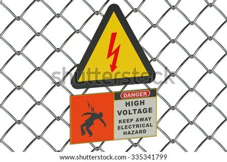 High Voltage sign on guard metallic mesh - stock photo