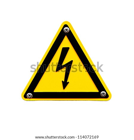 High voltage sign on the white background - stock photo