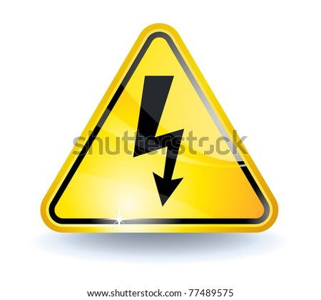 High voltage sign with glossy yellow surface