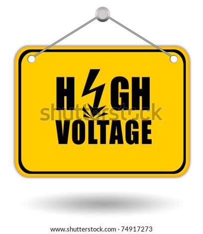 High voltage signboard - stock photo