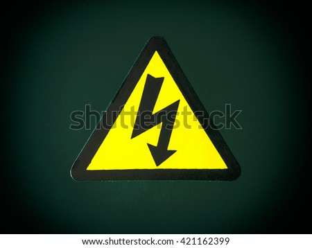 High voltage signs. - stock photo