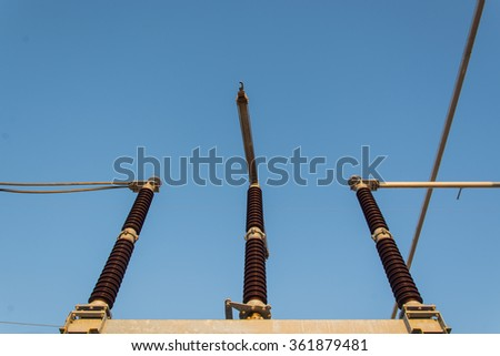 High voltage sub station for tranfrom electricity - stock photo