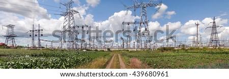 High voltage substation (power supply, ukrainian oblenergo sale)                                            - stock photo