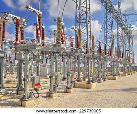 High voltage switch-yard - stock photo