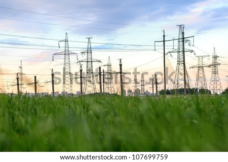 High-voltage tower - stock photo