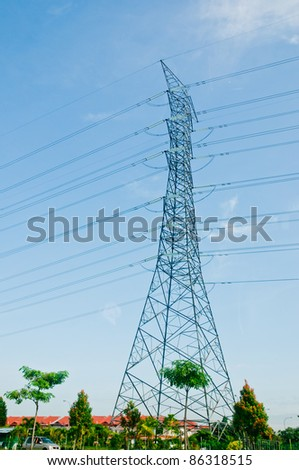 High voltage tower - stock photo