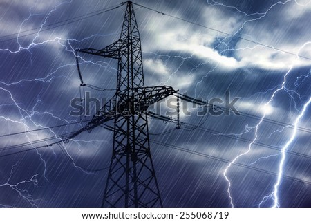 High voltage tower and lightning strikes - stock photo