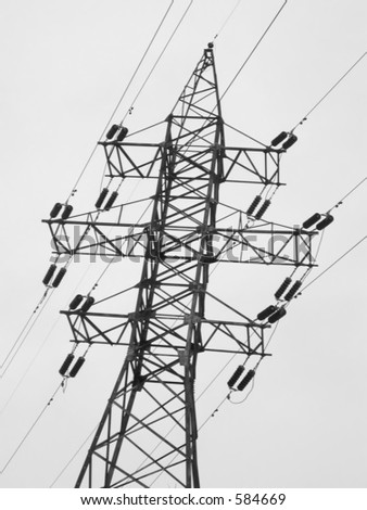 High-voltage tower, B/W - stock photo