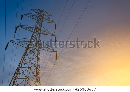 High voltage tower,High voltage tower at Sunset