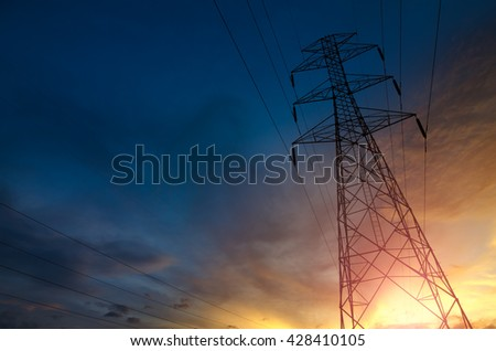 High voltage tower,High voltage tower at Sunset - stock photo