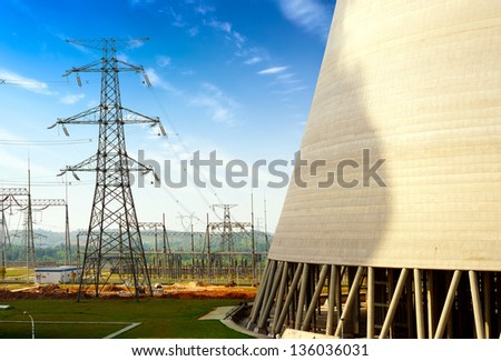 High-voltage tower of the coal-fired power plants - stock photo