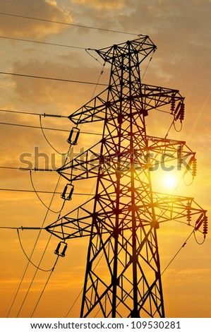 high voltage  tower sky background.