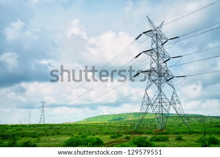 High-voltage tower sky background - stock photo