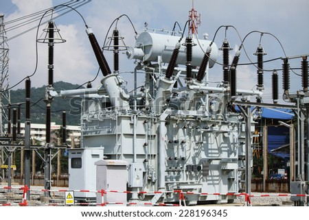 High voltage transformer in outdoor switchgear.