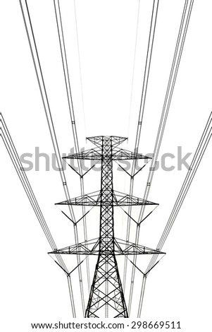 High voltage transmission tower on the white background. - stock photo