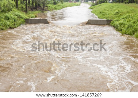 High water level in river - Zielona, Kalety, Poland, Europe. (11.06.2013) - stock photo