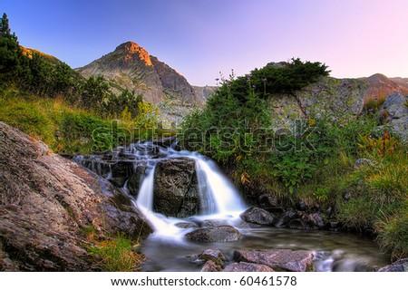 high water stream in bulgarian Rila mountain - stock photo